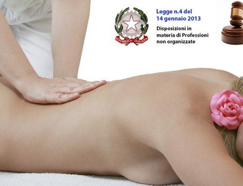 Legge n.4/2013 per il Massaggiatore